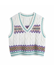 Fashion Printing Eight-strand Knitted Printed Sweater Vest