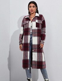 Fashion Red Long Sleeve Lapel Single-breasted Plaid Shirt
