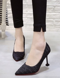 Fashion Black 6 Cm Pointed High-heeled Hollow Set Foot Non-slip Striped Sandals