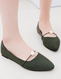 Fashion Green Pointed Flat Heel Pearl Shoes