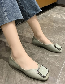 Fashion Green Round Toe Shallow Mouth Soft Bottom Breathable Square Buckle Shoes