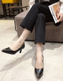 Fashion Black Leather Stiletto Heel Shoes