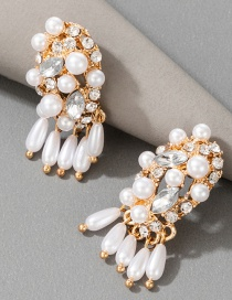 Fashion White Pearl Tassel Alloy Diamond Geometric Earrings