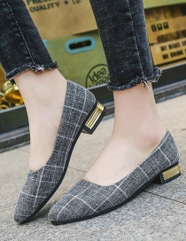 Fashion Black Checked Shallow Pointed Flat Shoes