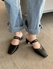 Fashion Black Square Toe Back Empty Toe Cap Strap Sandals