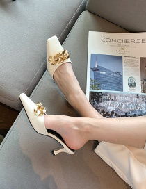 Fashion White Square Toe Metal Chain High Heel Sandals And Slippers