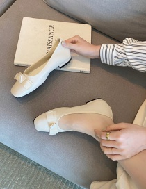 Fashion Apricot Flat Shallow Bow Square Toe Shoes