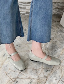 Fashion Green Flat Shoes With Square Head Belt Buckle