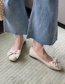 Fashion Apricot Square Toe Bow Flat Shoes
