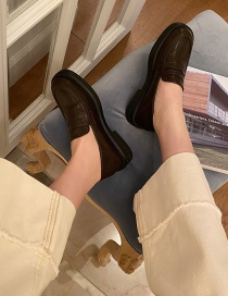 Fashion Brown Low Heel Round Toe Stitching Shoes