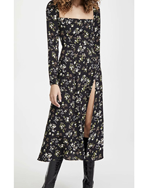 Fashion Black Floral Square Neck Floral Print Long Sleeve Dress
