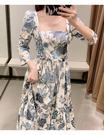 Fashion Blue Puff Shoulder Sleeve Square Neck Printing Long Dress
