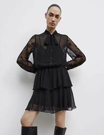 Fashion Black Layered Decorative Stitching Ruffled Dress