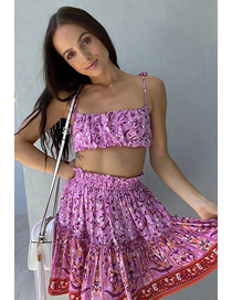 Fashion Pink Purple Floral Print Camisole Elastic Waist Skirt Suit