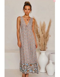 Fashion Brown Floral V-neck Print Long Dress With Tie On Chest