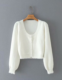 Fashion White Pure Color Square Collar Buttoned Plush Long-sleeved Sweater Sweater