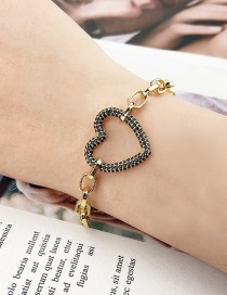 Fashion Gilded Diamond Heart-shaped Gold-plated Chain Square Bracelet