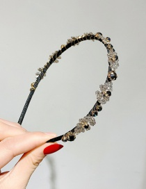 Fashion Black Alloy Hair Band With Diamond Leaves