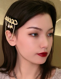 Fashion Chain Metal Chain Butterfly Combined With Gold Hollow Hairpin