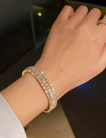 Fashion Golden Micro-set Zircon Open Geometric Bracelet