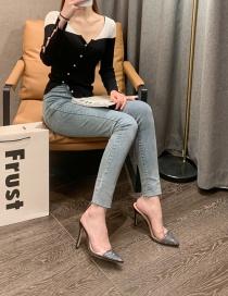 Fashion Black High-heeled Baotou Bright Diamond Transparent Slippers