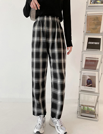 Fashion Photo Color Loose Check Straight-leg Trousers
