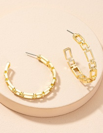 Fashion Gold Color Geometric Chain Alloy Hollow Earrings