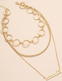 Fashion Gold Color Letter Pendant Round Bead Chain Alloy Multilayer Necklace