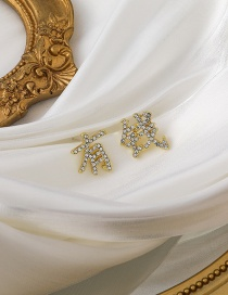 Fashion Gold Color Rich Text Diamond Alloy Earrings