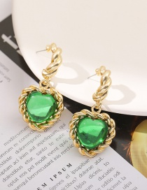 Fashion Gold Color Love Glass Diamond Braided Alloy Earrings
