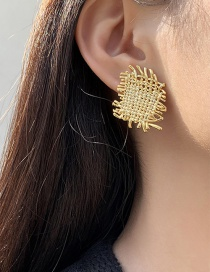 Fashion Gold Color Woven Texture Square Cross Stripe Earrings