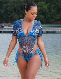 Fashion Mesh Siamese Mesh And Spot Print One-piece Swimsuit
