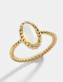 Fashion Number 6 Oval Opal Alloy Ring