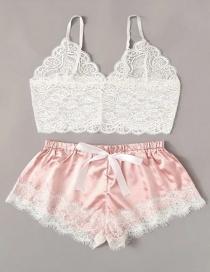Fashion Pink Lace Perspective Underwear Set