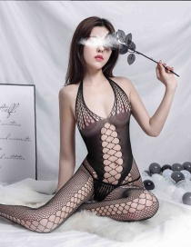 Fashion Black Grid Perspective Open File Conjoined Stocking Underwear
