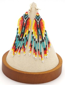 Fashion Color Mixing Beaded Rice Beads Hand-woven Long Tassel Earrings