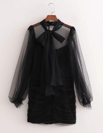 Fashion Black Tulle Bow Sleeve Ruched Dress