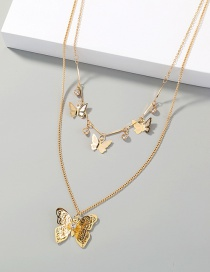 Fashion Gold Color Three-dimensional Butterfly Pendant Tassel Inlaid Zircon Double Necklace