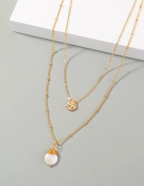 Fashion Gold Color Bean Hand-wound Special-shaped Pearl Gold Bean Pendant Double Necklace