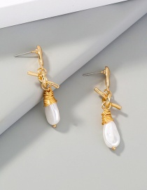 Fashion Gold Color Pearl Knotted Long Alloy Earrings