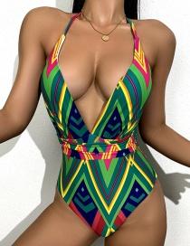 Fashion Green Printed Diamond Halterneck Lace Halter One-piece Swimsuit