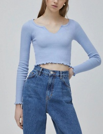 Fashion Blue Ribbed Slim Top With Slit Neckline