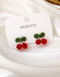 Fashion Red Cherry Butterfly Combined With Gold Earrings