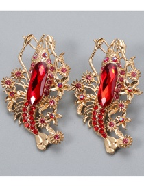 Fashion Red Diamond-studded Lobster Alloy Hollow Earrings
