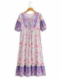 Fashion Printing Printed Tether Stitching Contrast Dress