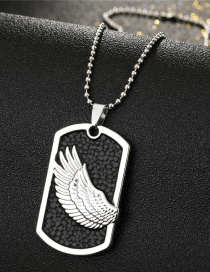 Fashion Silver Color Wings Rectangular Frosted Wings Tag Necklace