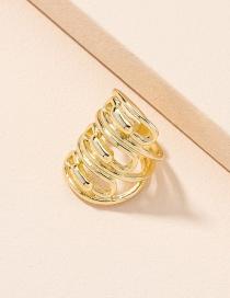 Fashion Golden Color Wide Face Geometric Alloy Men S Ring
