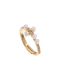 Fashion Gold Color Copper And Zircon Pearl Cross Ring