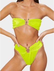 Fashion Yellow Solid Color Metal U-shaped Ring Split Swimsuit