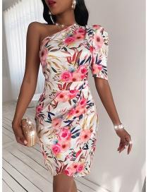 Fashion White Printed One-shoulder Strapless Hip Dress